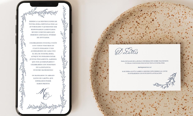 Soluciones de papelería muy bonitas para avisar a tus invitados que no podrán asistir a la boda