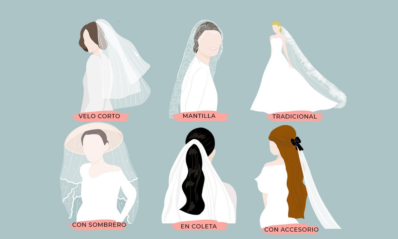 Un peinado de novia ideal para cada tipo de velo