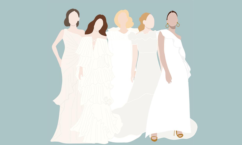 Si buscas un vestido de novia con volantes, tienes que ver estas ideas