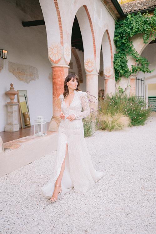 Robe de mariée bijoux avec ouverture centrale