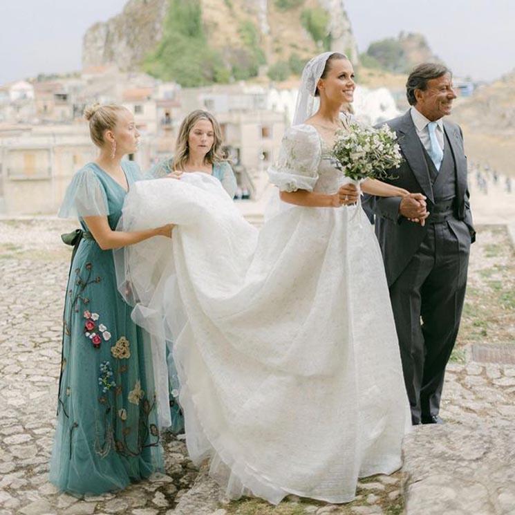 El vestido de novia de Irene Forte, un diseño italiano con bordados muy especiales