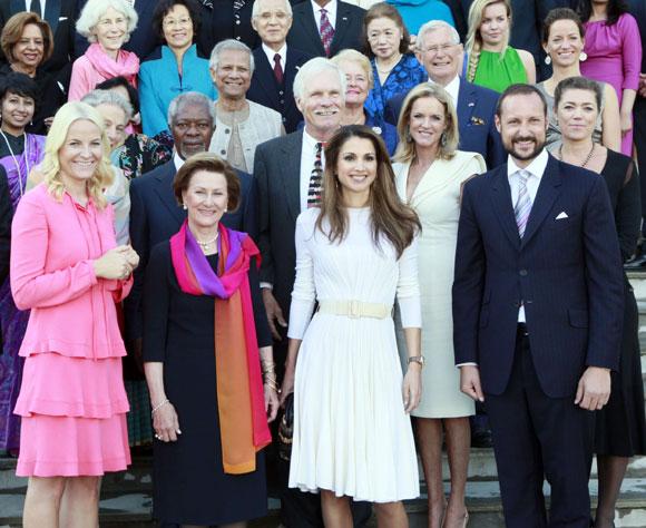 Los reyes y los príncipes de Noruega reciben en Oslo a Rania de Jordania como miembro de la directiva de la Fundación de la ONU
