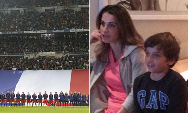 Rania de Jordania y su hijo Hashem se unen a los gritos de 'hala Madrid' y 'viva el Barça'
