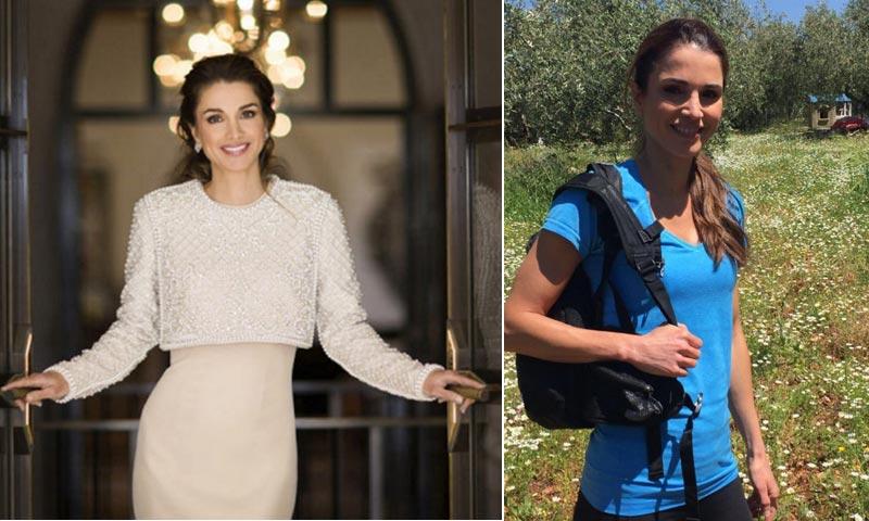 Rania de Jordania cambia el 'glamour' de palacio por la ropa de deporte