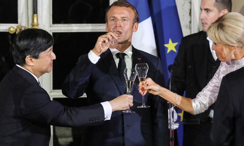Naruhito de Japón culmina la primera parte de su visita a Francia con un brindis con los Macron en Versalles