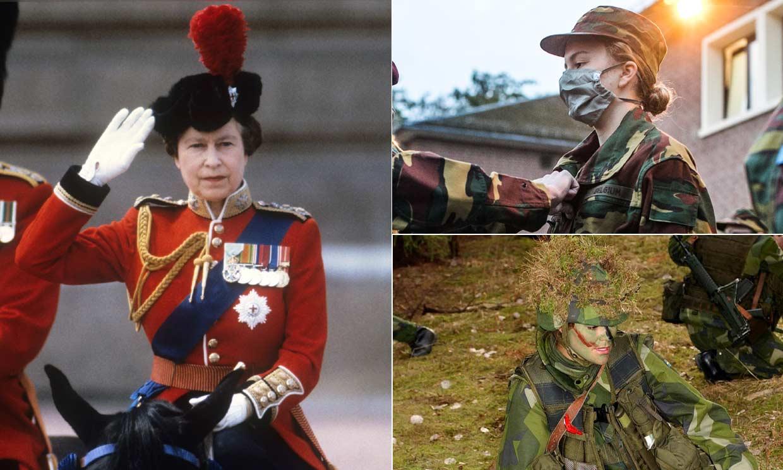 Cuando reinas y princesas cambian la tiara por el uniforme militar