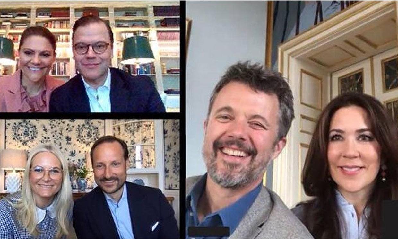 Desde el salón de casa y a través de videollamada: el encuentro informal de los royals nórdicos