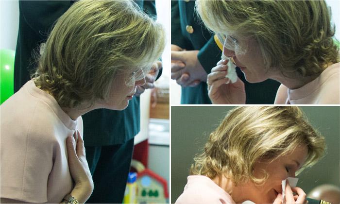 Matilde de Bélgica no puede evitar las lágrimas durante su visita a un hospital