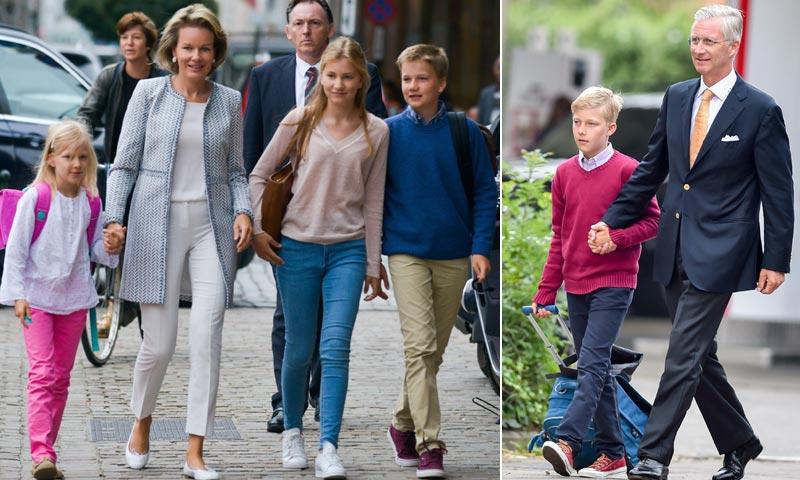 ¡Sonrisas y nervios! Los hijos de los Reyes de Bélgica regresan al cole