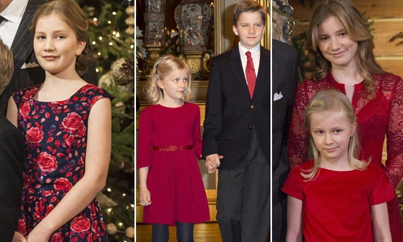 El color y el patrón de la Navidad para la Familia Real de los belgas