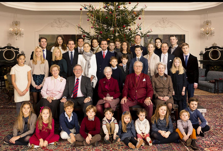 La gran Familia Real de Dinamarca por Navidad