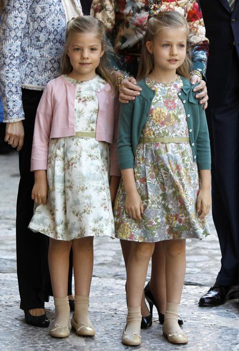 Królowa, Książę Asturii i jego córki Infantka Elena uczestniczyć Msza Wielkanocna w Palma
