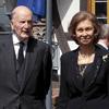La reina Sofía y su hermano, Constantino de Grecia, acuden al funeral del jefe dinástico de la Casa de Hesse