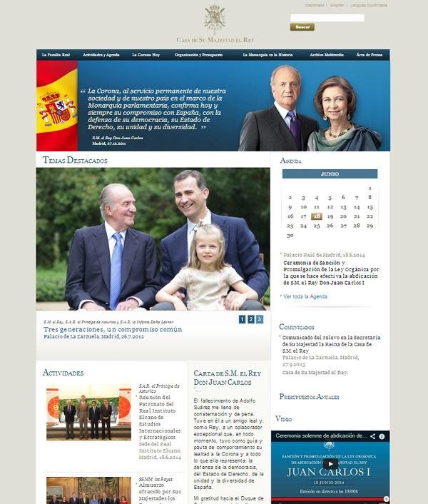 Web de la Casa Real antes del cambio con motivo de la proclamación de Felipe VI