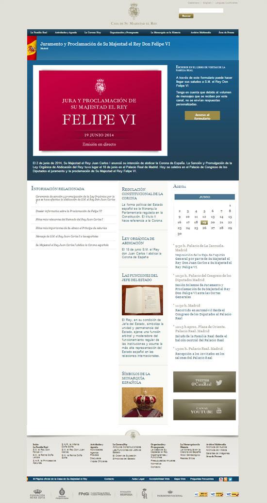 La Casa Real modifica su web coincidiendo con el inicio del reinado de Felipe VI