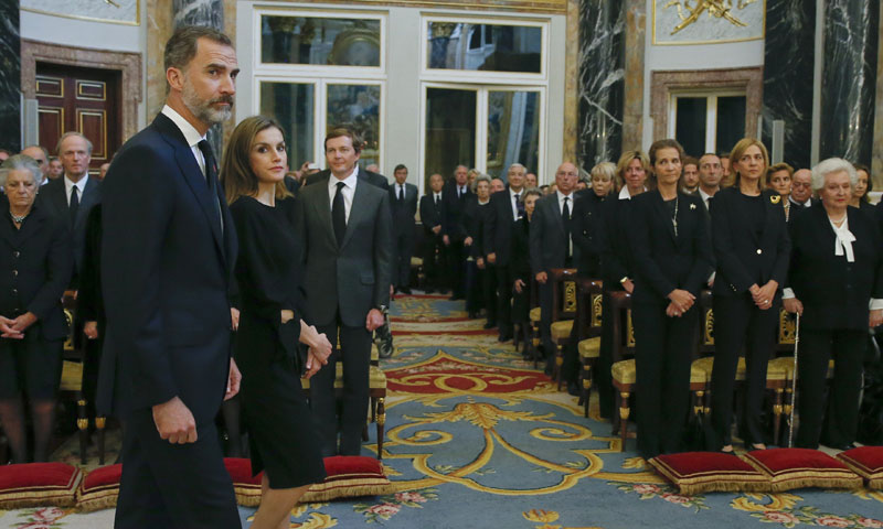 Los cuatro Reyes asisten al funeral de Alicia de Borbón-Parma al que también ha acudido la infanta Cristina