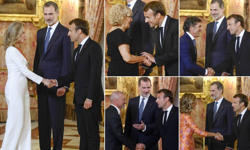 El encuentro de Felipe VI y Emmanuel Macron en el Palacio Real: exprés, pero con honores