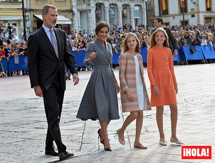 Gaitas, sonrisas y mucha emoción en la bienvenida a la princesa Leonor en Oviedo