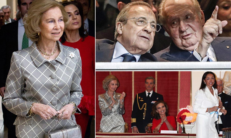 El rey Juan Carlos, en el fútbol con Florentino, y la reina Sofía, en unos premios muy concurridos de personalidades