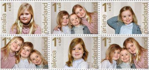 Las tiernas y divertidas imágenes que ilustran los sellos solidarios de Amalia, Alexia y Ariane de Holanda
