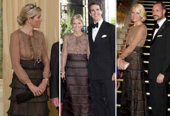 Máxima de Holanda, Marie Chantal de Grecia y Mette-Marit de Noruega, tres damas y un vestid