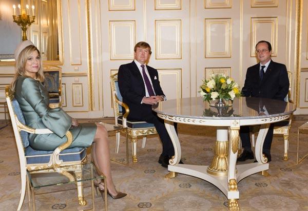 Máxima de Holanda: nuevo derroche de elegancia al recibir al Presidente de Francia