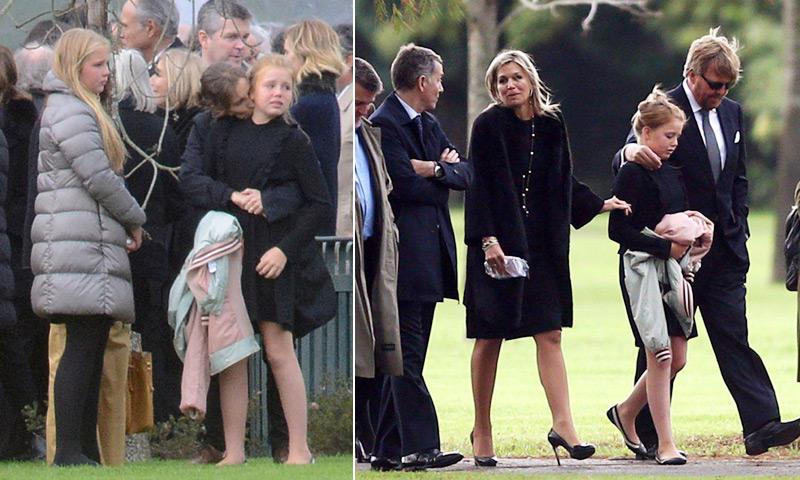 Los Reyes de Holanda y sus tres hijas dan su último adiós a Jorge Zorreguieta