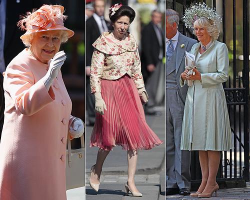 La reina Isabel, la princesa Ana, madre de la novia, la duquesa de Cambridge