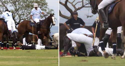 El príncipe Harry socorre a un jinete que quedó inconsciente, tras una grave caída en un partido de polo