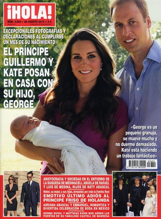 En ¡HOLA!: El príncipe Guillermo y Kate posan en casa con su hijo, George
