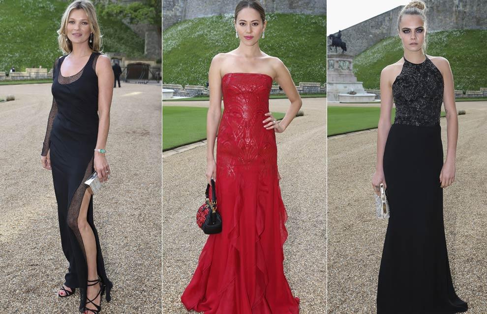 El siempre elegante negro reinó en el castillo de Windsor. Las modelos apostaron todo al negro Kate Moss lució un vestido negro de tirantes y escote