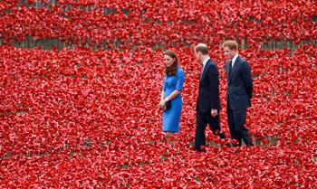 Los Duques de Cambridge se adentran en un mar rojo de amapolas en homenaje a los héroes caídos de la Primera Guerra Mundial