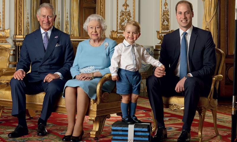George de Cambridge, como heredero, en el retrato por el 90 cumpleaños de Isabel II