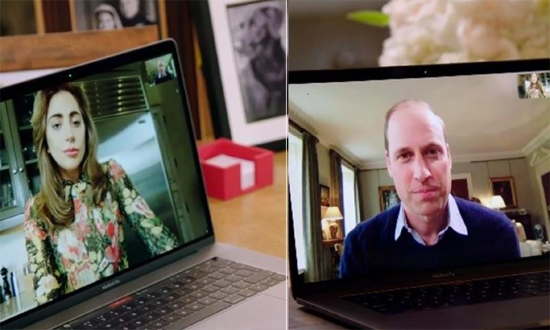 La inesperada videoconferencia del príncipe Guillermo y Lady Gaga