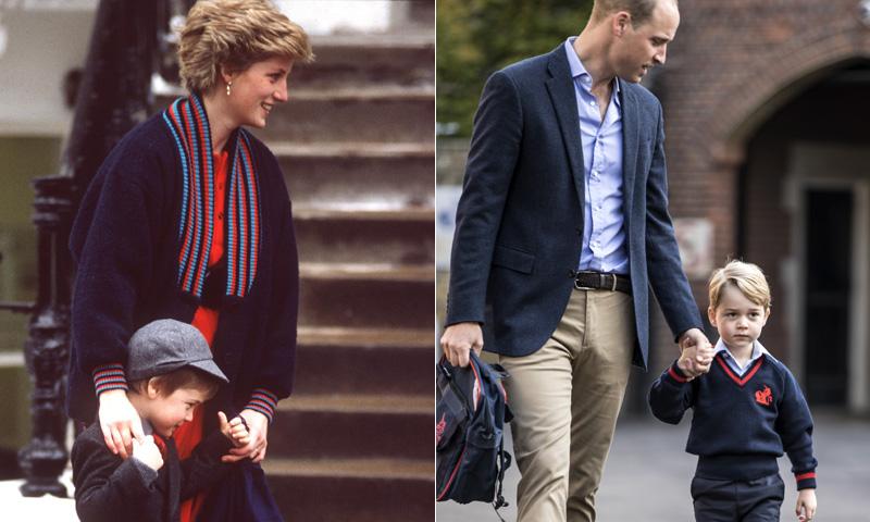 Así fue el primer día de colegio del príncipe Guillermo y así ha sido el de su hijo George