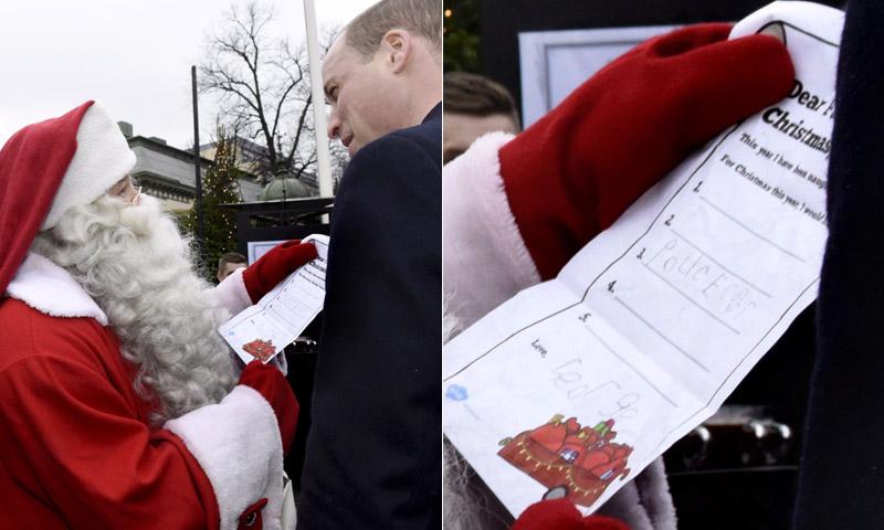 ¡Misión en Finlandia! El príncipe Guillermo entrega a Papá Noel la carta de George