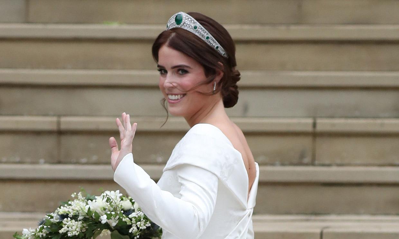 La princesa Eugenia, en la exposición de su vestido de novia