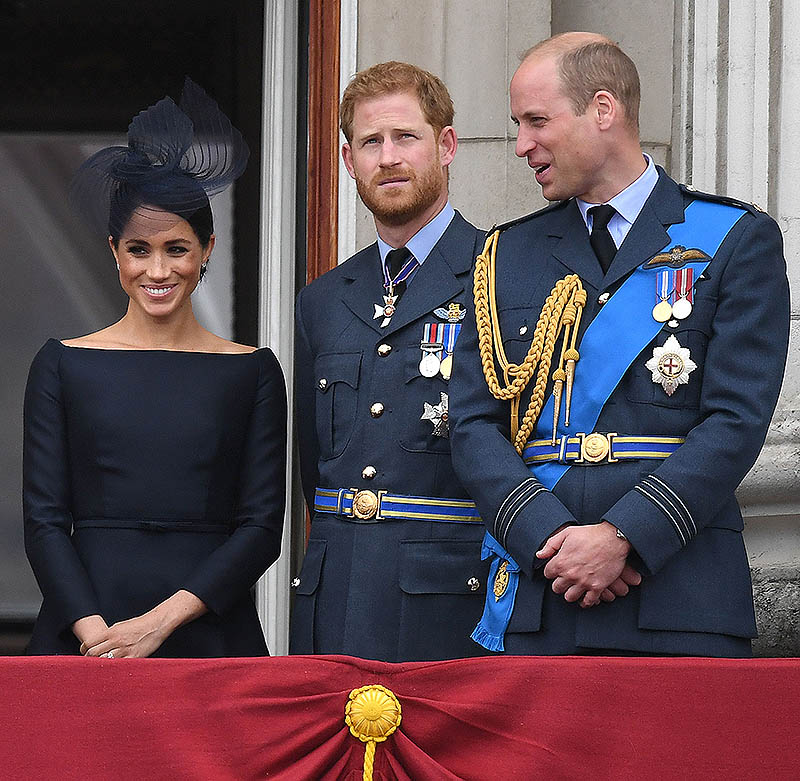 Meghan Markle y los príncipes Harry y Guillermo