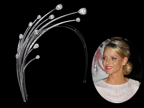 La diadema que lució en la fiesta posterior a su boda religiosa con Alberto de Mónaco es un diseño de Lorenz Baümer