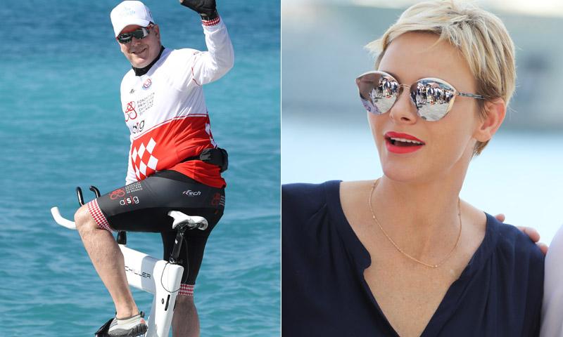 Alberto de Mónaco, al agua y en bicicleta por la princesa Charlene