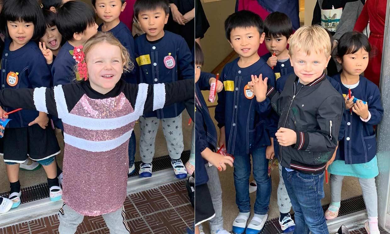 '¡Konnichiwa!' Jacques y Gabriella de Mónaco, dos alumnos aplicados en una escuela de Japón