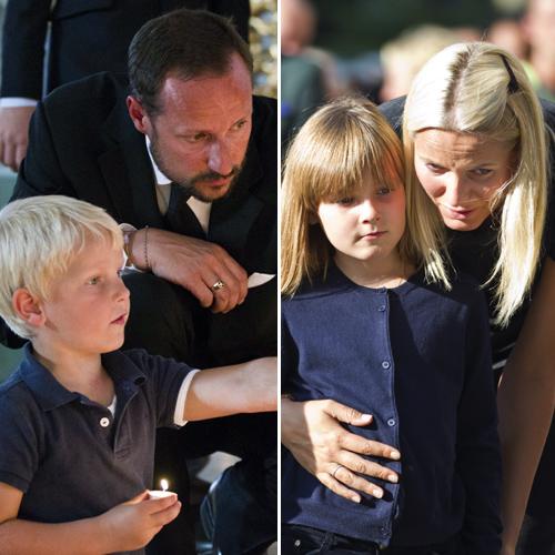 Los príncipes Haakon y Mette-Marit y sus hijos muestran su apoyo a las víctimas del doble atentado en Oslo