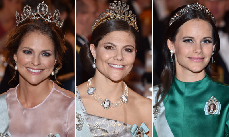 Las damas de la Familia Real sueca despliegan su 'glamour' en la noche de los Nobel