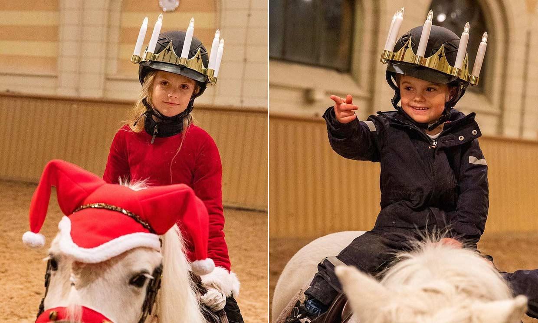Con corona de velas y a caballo, Estelle y un risueño Oscar de Suecia se preparan para la Navidad
