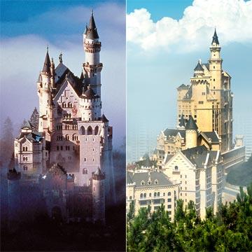 Busca las siete diferencias entre el castillo de Neuschwanstein y el hotel que ha inspirado