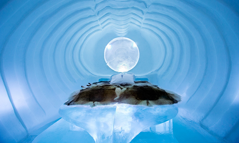 Una suite de hielo para todo el año en Suecia