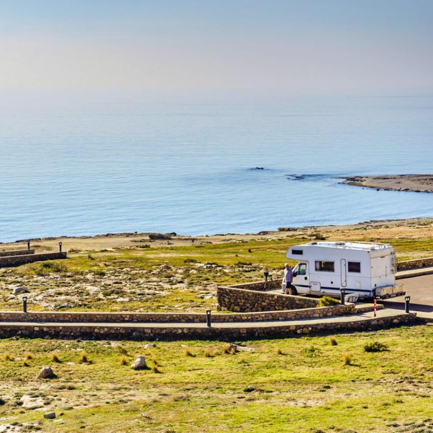 Parking area for motorhomes on the Mediterranean coast.