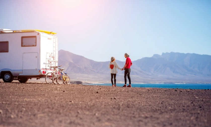 Traveling with a motorhome on the island of Fuerteventura.