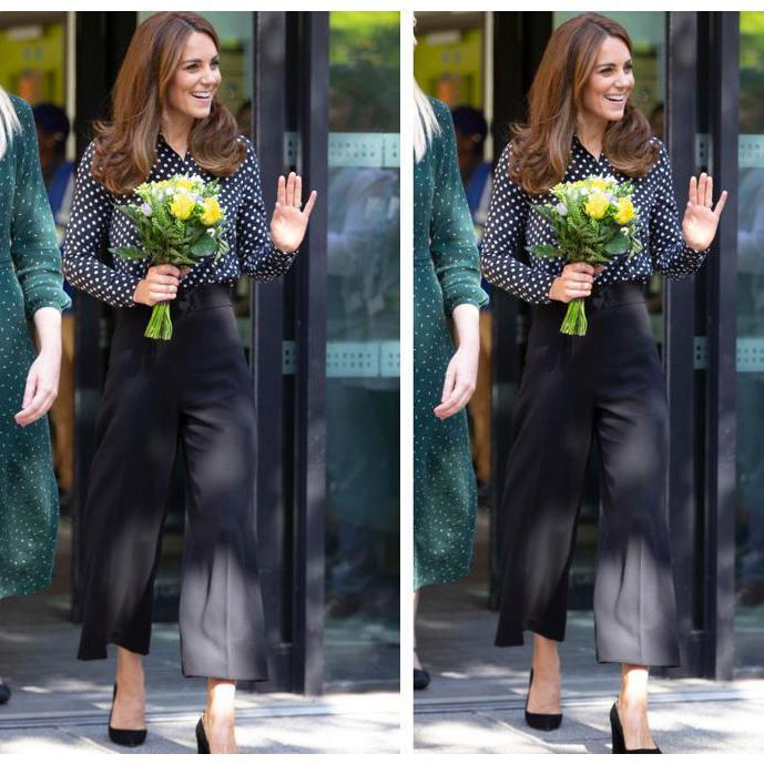 Kate Middleton look pantalones culotte lunares moda fall winter 2019