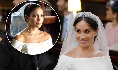 Meghan Markle wore a dress reminiscent of Jennifer Lopez's from The Wedding Planner